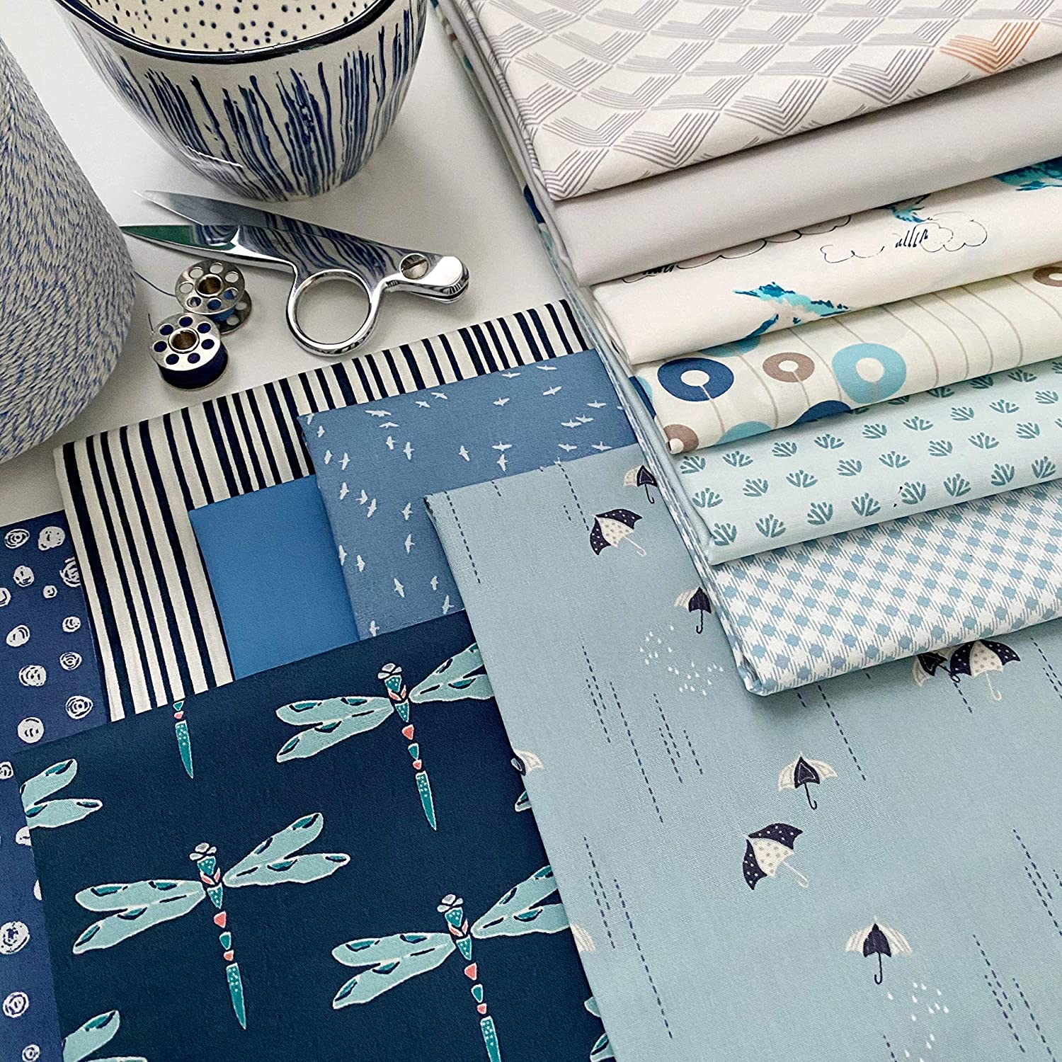 Blueberry Long Beach Mall Pie Curated Bundle Blue Quarters Gray Indefinitely Birds Fat with