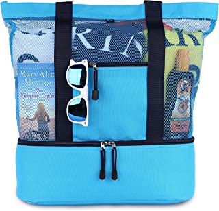 Mesh Beach Tote Bag with Zipper Top and Insulated Picnic Cooler with a free waterproof pouch