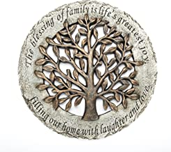 Roman Exclusive Terrace Garden Stone with a Tree and Verse, 12.2-Inch, 2-Tone Dolomite/Resin