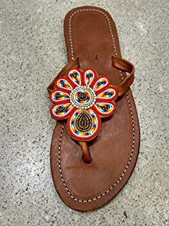 Handmade African Maasai Sandals - Leather Flip Flops - Size 9 (40 Europe) Sole length 10.39 inches/26.4 cm - Handcrafted in Kenya - Multicolored, Red, KS53