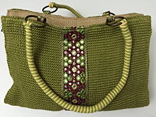 Shoulder Bag-attractive Bright Green Color, Center Small Mirror Design, Beautiful, Everyday Jute Bag with Strong Thread Handle; Made of Eco-friendly Jute;trendy, Designer Jute Bag, Strong Flat Base, Beautiful Gift (Green, H 8.4'' X L 13.4'' X W 4.2'')