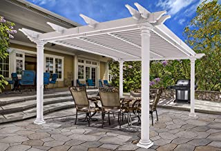 New England Arbors VA42093 Aberdeen Louvered Pergola, White