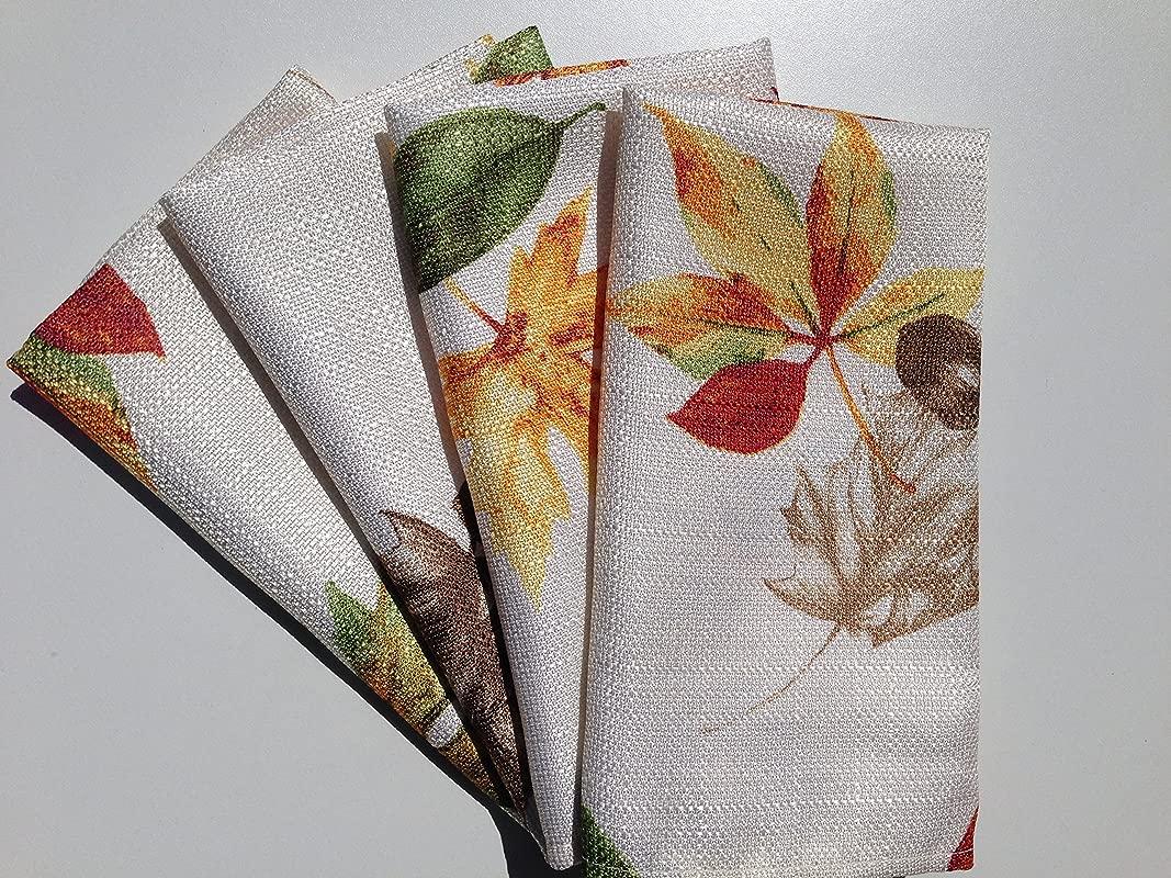 Harvest Season Fall Fabric Napkin Set Of 4 Awesome Autumn Maple Leaves