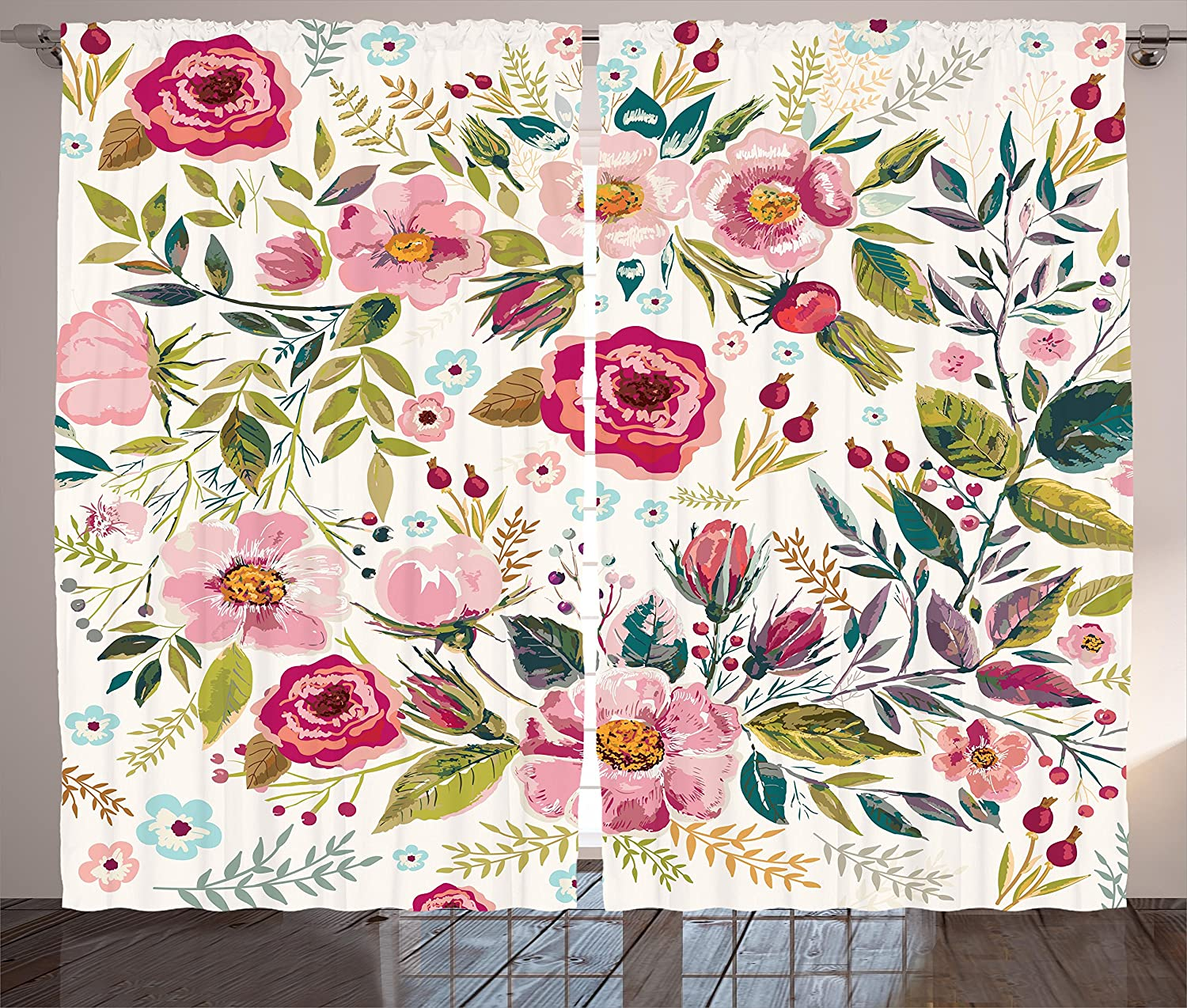 Ambesonne Floral Atlanta Mall Curtains Ranking TOP6 Shabby Form Flowers Petals Roses Dots