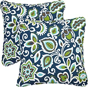 Mozaic Company AZPS7091 Indoor Outdoor Square Pillow with Corded Edges, Set of 2, 16 inches, Navy Blue & Green Floral