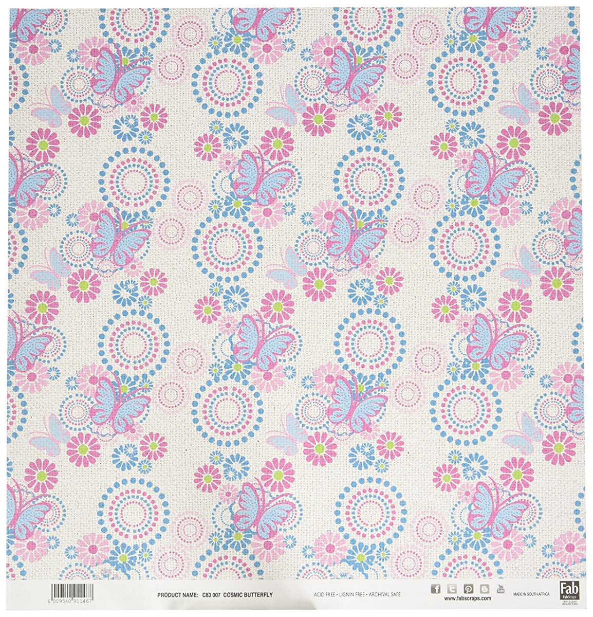FabScraps C83 007 Kaleidoscope Double-Sided Cardstock (25 Sheets Per Pack), 12