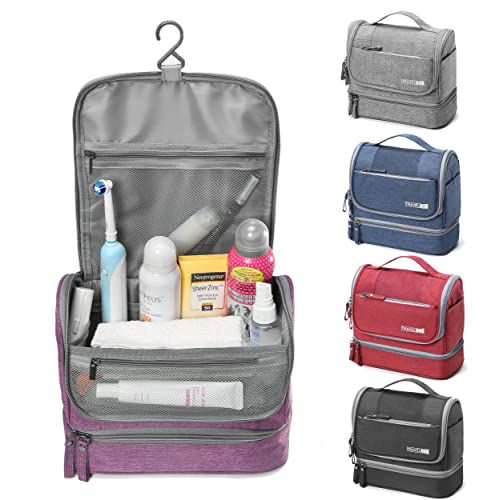 WYTartist Hanging Travel Toiletry Bag for Men and Women with Dry and Wet Separation 2 Layers Design (Purple)