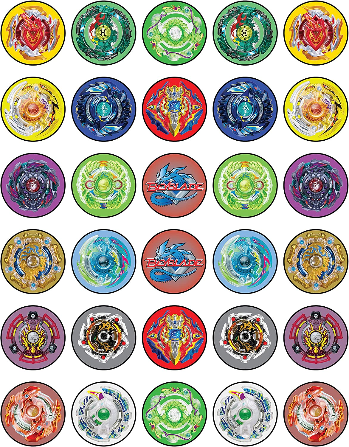 Amazon Com 30 X Edible Cupcake Toppers Themed Of Beyblade New Collection Of Edible Cake Decorations Uncut Edible On Wafer Sheet Grocery Gourmet Food