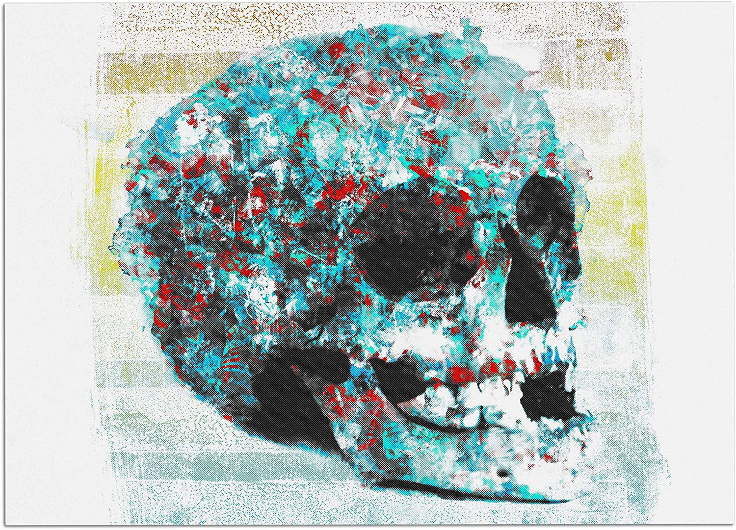KESS InHouse FH1067ADM02 Frederic LevyHadida Floral Skully 2  Coral Teal Dog Place Mat, 24  x 15