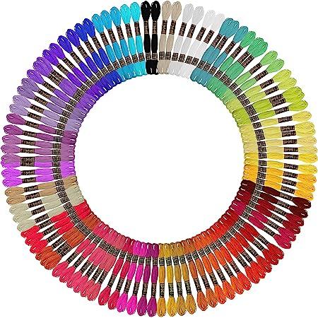 Curtzy Fil a Broder (100 Écheveaux) - 8 m de Fil Broderie en Coton 6 Brins aux Couleurs Arc-en-ciel - Fils Bracelet Brésilien, Point de Croix, Bracelets d'Amitié, String Art, Crochet et Couture|
