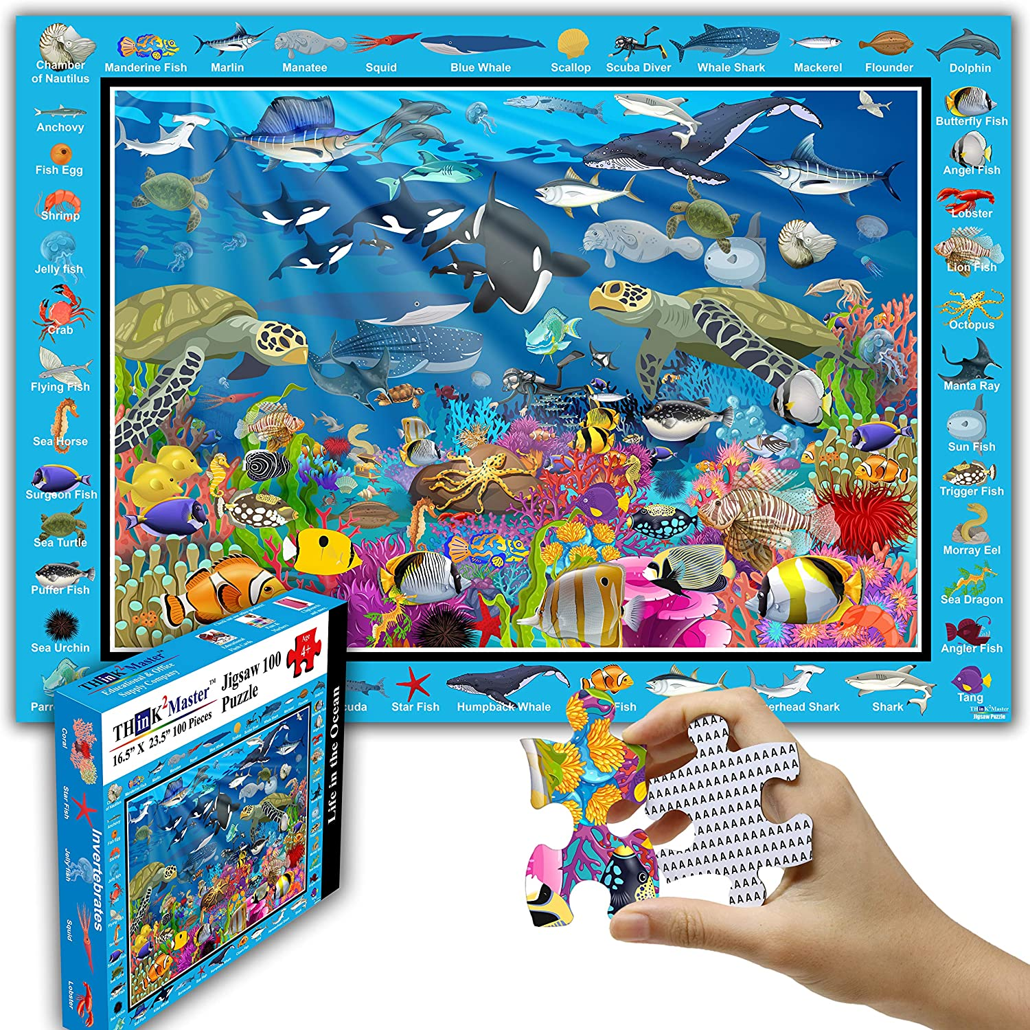 OFFicial store 1 year warranty Think2Master Colorful Ocean Life 100 Jigsaw Fun Ed Pieces Puzzle