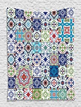 Ambesonne Boho Tapestry, Colorful Traditional Elements Floral Motifs on Checkered Squares Background, Wall Hanging for Bedroom Living Room Dorm Decor, 40