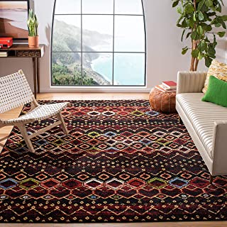 "Safavieh Amsterdam Collection AMS108P Boho Chic Moroccan Distressed Area Rug 5'1"" x 7'6"" Black/Multi"
