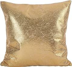 SARO LIFESTYLE Shimmering Metallic Design Down Filled Throw Pillow, 20, Gold