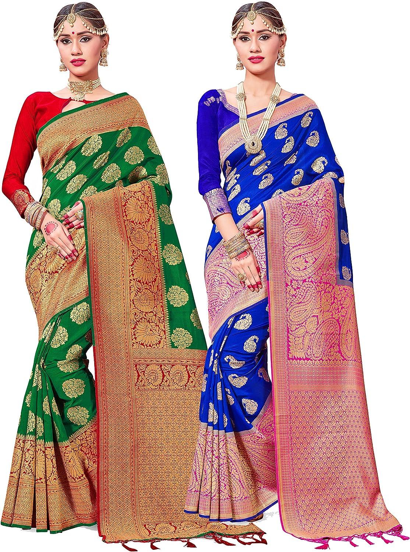 NEW Banarasi SILK WEAVING Saree Bridal Christmas Gift Occasional Festive Wear Party Wedding Indianattire Sari with UnStitched Running Blouse