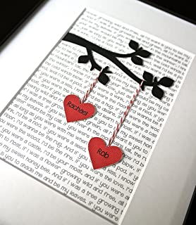 Unique Personalized Gift for Wedding, Valentine`s, Engagement or Anniversary, with Couple`s Names and Custom First Dance Lyrics or Text