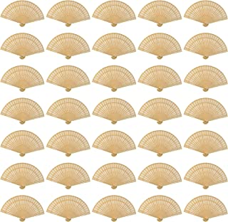 Wobe 60 Pack Sandalwood Fans- Baby Shower Gifts & Wedding Favors Hand Held Folding Fans Wooden Openwork Personal Handheld ...
