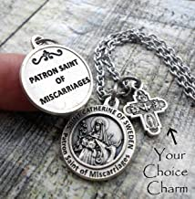 St. Catherine of Sweden Charm Necklace, Patron Saint of Miscarriages Keychain or Purse-Backpack Clip