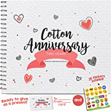 2nd Anniversary Gifts for Couples by Year. Two Year Booklet with Matching Card for Cotton Anniversary. Second Anniversary Memory Journal & Keepsake Album. Great 2 Year Wedding Gift for Husband & Wife