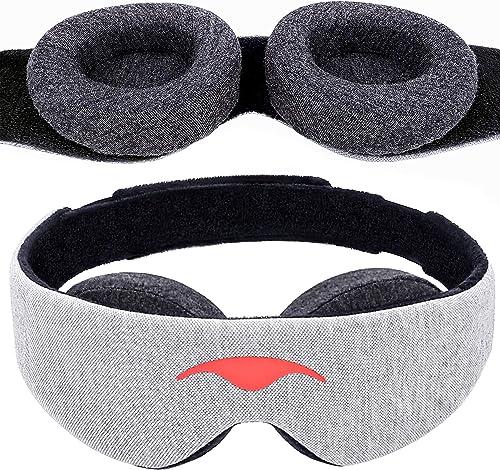 Manta Sleep Mask - 100% Blackout Eye Mask - Zero Eye Pressure - Adjustable Eye Cups - Guaranteed Deepest-Possible Res...