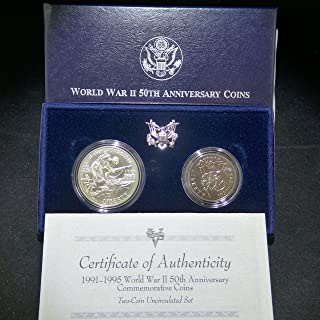 1993 World War 2 50th Anniversary Commemorative Two Coins Brilliant Uncirculated