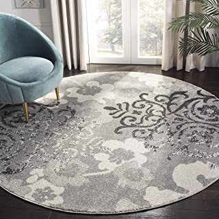 Safavieh Adirondack Collection ADR114B Silver and Ivory Contemporary Chic Damask Round Area Rug (4' Diameter)