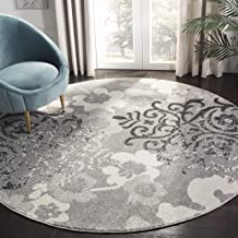 Safavieh Adirondack Collection ADR114B Silver and Ivory Contemporary Chic Damask Round Area Rug (8' Diameter)