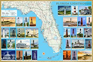 Florida Lighthouses Illustrated Map & Guide Laminated Poster