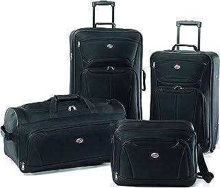 American Tourister Fieldbrook II Softside Upright Luggage Set, Black, 4-Piece (tote/DF/21/25)
