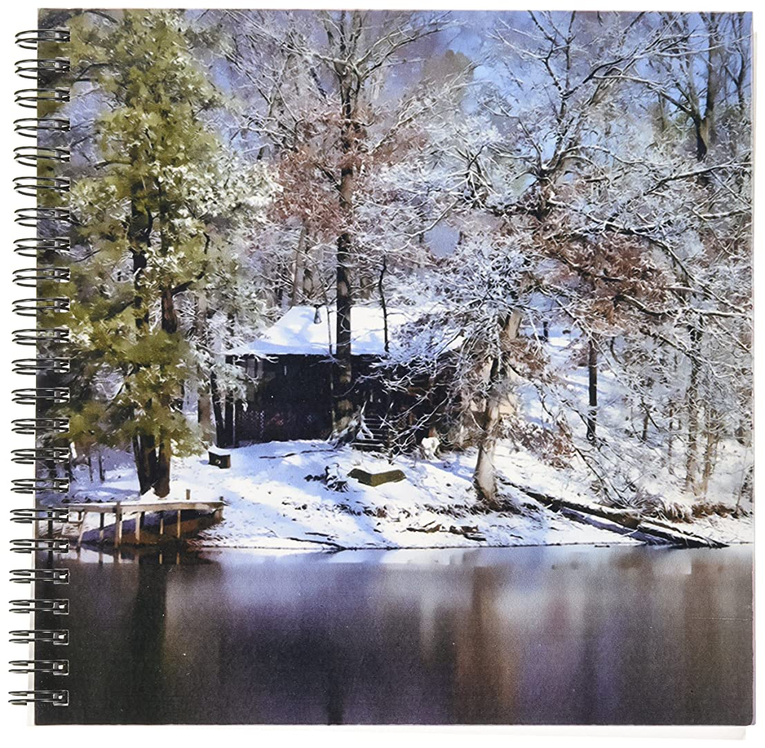 3dRose db_48677_1 Heaven on Earth Can be Found in The Tennessee Mountains Inside This Rural Cabin in The Snow Drawing Book, 8 by 8-Inch