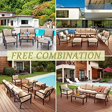 LOKATSE HOME Outdoor Club Chair Patio Metal Dining Sofa with Steel Frame for Porch, Deck, Poolside, Beige Cushions