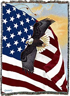 Pure Country Weavers   Majestic Bald Eagle and American Flag Woven Tapestry Throw Blanket with Fringe Cotton USA 72x54