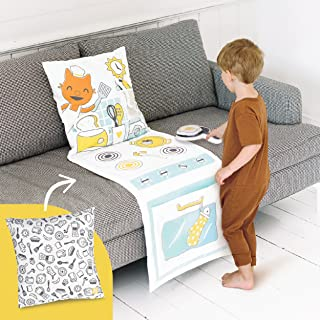 Sago Mini, 2-in-1 Fold Up Pillow Playset, Jinja's Kitchen with Plush Accessories for Toddlers