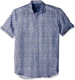 Bugatchi Men's Slim Fit Circular Blue Pattern Short Sleeve Shirt