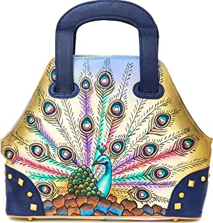 Zimbelmann - Womens Top - Handle Bag - made of genuine Nappa Leather - multicoloured handpainted - Ashley