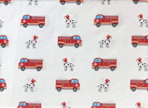 Authentic Kids 4pc Sheet Set Red Fire Trucks with Ladders on White with Blue Windows Dalmatian Dogs Cotton Sateen (Full)
