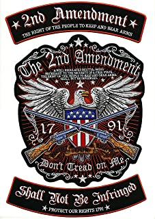 2nd Amendment Rockers Eagle Center Patch | Large Motorcycle Military Patriotic Flag Embroidered Patches | 3pc. Set - by Nixon Thread Co.
