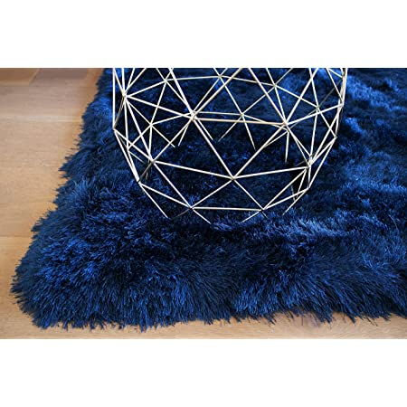 Plain Blue Navy Grey Shaggy Deep Soft Pile Circles Rectangle Runner Mats