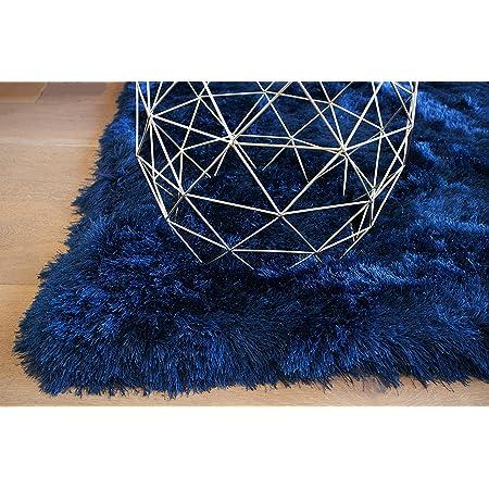 Plain Blue Navy Grey Shaggy Deep Soft Pile Circles Rectangle Runner Mats