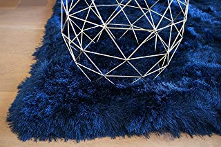 3Delta Epic Shaggy Shag Solid Flokati Fuzzy Furry Decor Designer Hand Woven Hand Made 5-Feet-by-7-Feet Polyester Made Area Rug Carpet Rug Navy Blue