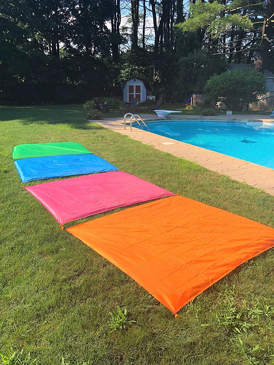 Pink Green Blue and Orange. Four Colors to Choose from Quick Drying Compact Lightweight /& Durable Beach//Camping Blanket with 4 Stakes Sand Free Waterproof Beach Blanket