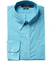 LAUREN Ralph Lauren Classic Fit Non Iron Gingham Plaid Button Down Dress Shirt