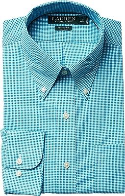 LAUREN Ralph Lauren Classic Fit Non Iron Gingham Plaid Button Down Dress Shirt