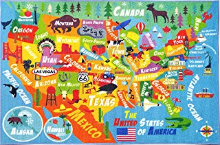 """KC CUBS Playtime Collection USA United States Map Educational Learning & Game Area Rug Carpet for Kids and Children Bedrooms and Playroom (3'3"""" x 4'7"""")"""