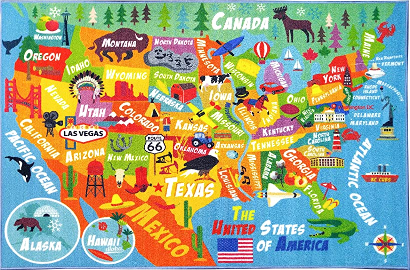 KC CUBS Playtime Collection USA United States Map Educational Learning & Game Area Rug Carpet for Kids and Children Bedrooms and Playroom (3'3