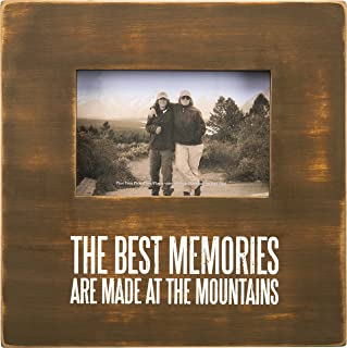 Primitives by Kathy Distressed Wood Box Frame, 10 x 10-Inches, Memories are Made at The Mountains