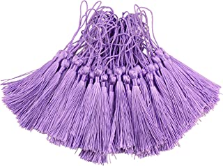 100pcs 13cm/5 Inch Silky Floss Bookmark Tassels with 2-Inch Cord Loop and Small Chinese Knot for Jewelry Making, Souvenir, Bookmarks, DIY Craft Accessory (Purple)