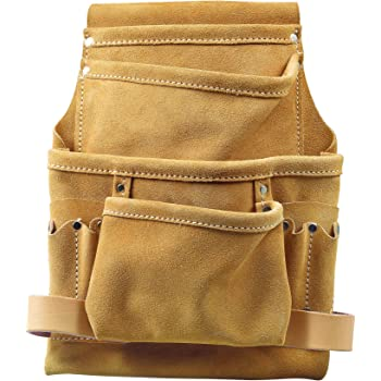 Heritage Leather 424SP con 3 scomparti e 9 tasche Borsa porta chiodi e utensili professionale in crosta di cuoio