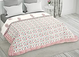 BLOCKS OF INDIA Hand Block Printed Cotton King Size Quilt/Rajai (90 inch X 108 inch) (Pink & RED Paisley)