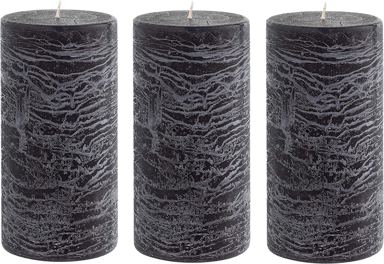 Unscented 3x6 Tall Pillar Candles – Set of 3 Hand Poured Wax Candles | Smokeless, Clean Burning Décor for Home, Weddings, Church, Events | Black: Home Improvement